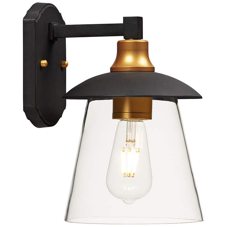 """Maxim Crib 11 1/4""""H Bronze and Gold LED Outdoor Wall Light"""