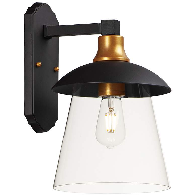 """Maxim Crib 14 1/2""""H Bronze and Gold LED Outdoor Wall Light"""