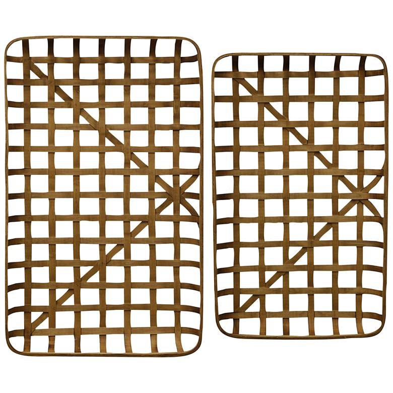 "Paracel 40 1/2"" and 37"" Wide Natural Bamboo Trays - Set of 2"