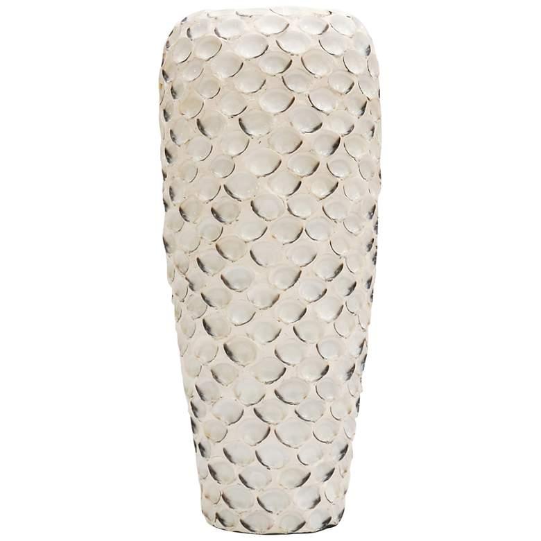 "White 20 1/2"" High Abalone Shell and Ceramic Vase"