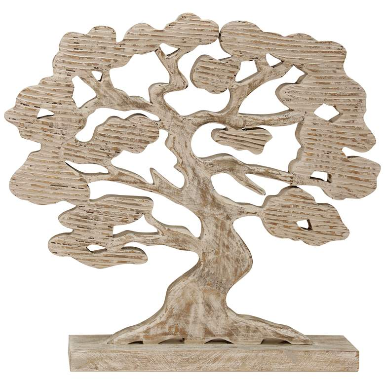 """Tree of Life 22 1/2"""" High Natural Hand-Carved Wood Sculpture"""