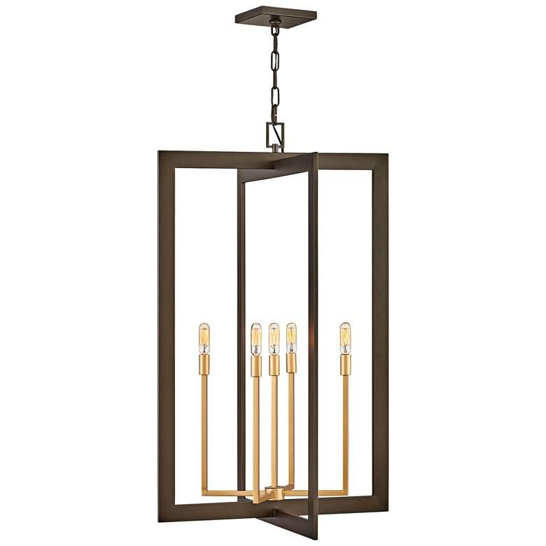 """Anders 22"""" Wide Metallic Matte Bronze 5-Light Foyer Pendant"""
