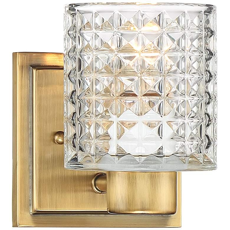 "Possini Euro Sari 6 1/2""H Cut Glass and Gold Wall Sconce"