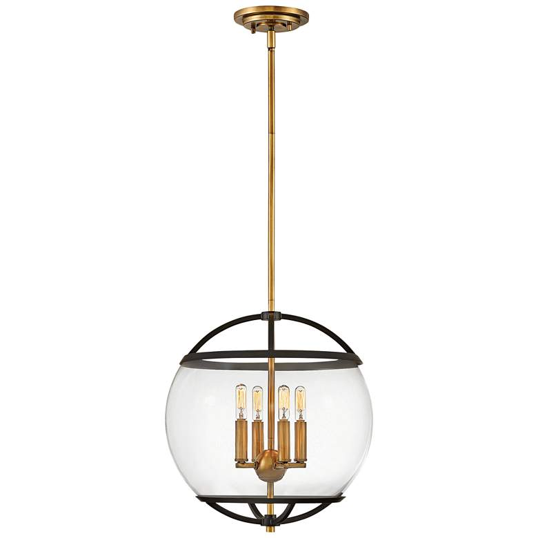 "Hinkley Calvin 15"" Wide Black and Brass 4-Light Orb Pendant"