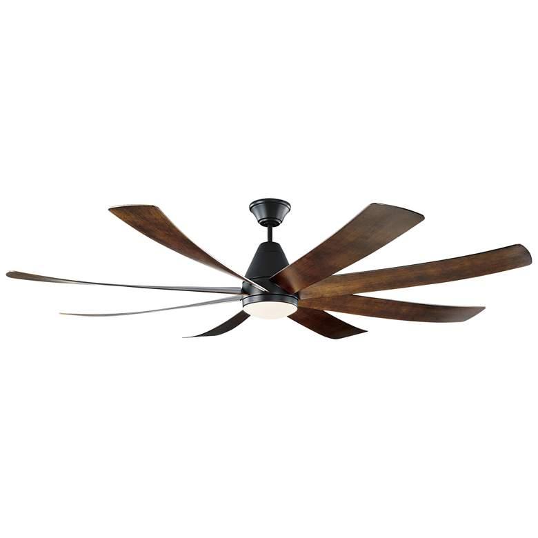 "72"" Monte Carlo Kingston Matte Black LED Damp Ceiling Fan"
