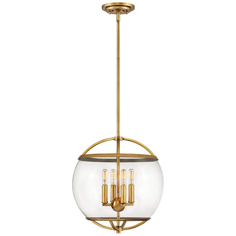 "Hinkley Calvin 15"" Wide Heritage Brass 4-Light Orb Pendant"