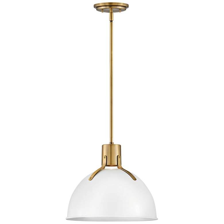 """Hinkley Argo 14""""W Polished White and Brass LED Pendant Light"""