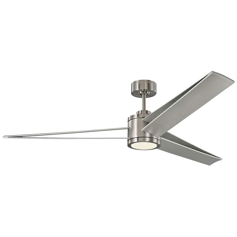 """60"""" Monte Carlo Armstrong Brushed Steel LED Damp Ceiling Fan"""
