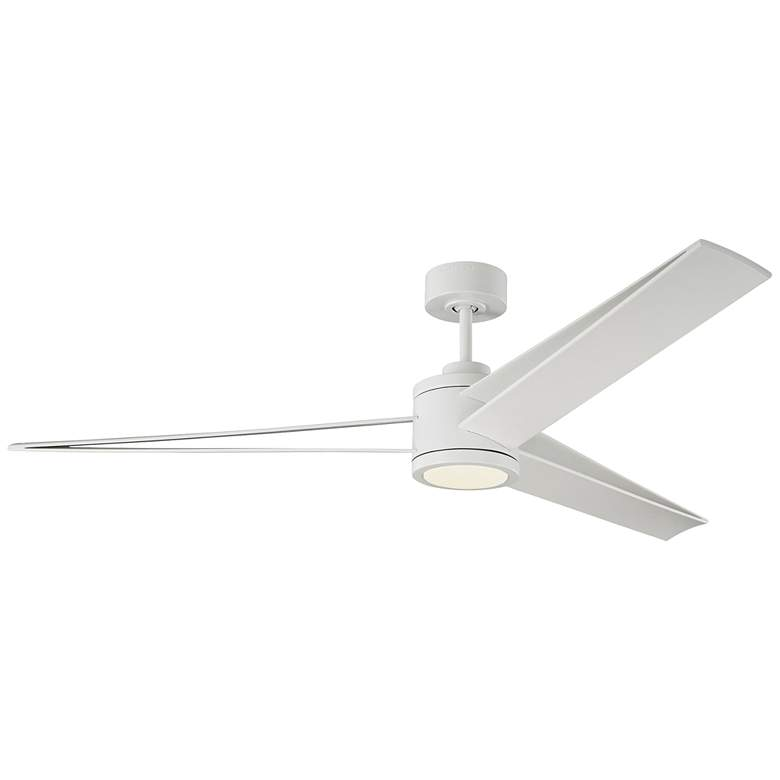"""60"""" Monte Carlo Armstrong Matte White LED Damp Ceiling Fan"""