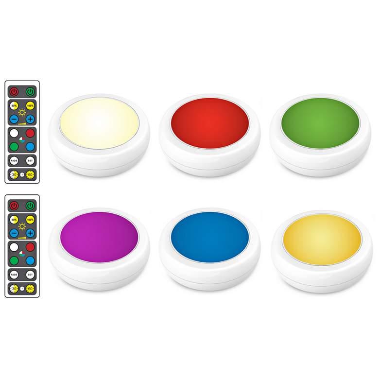 Brilliant Evolution Color Changing LED Puck Lights Set of 6