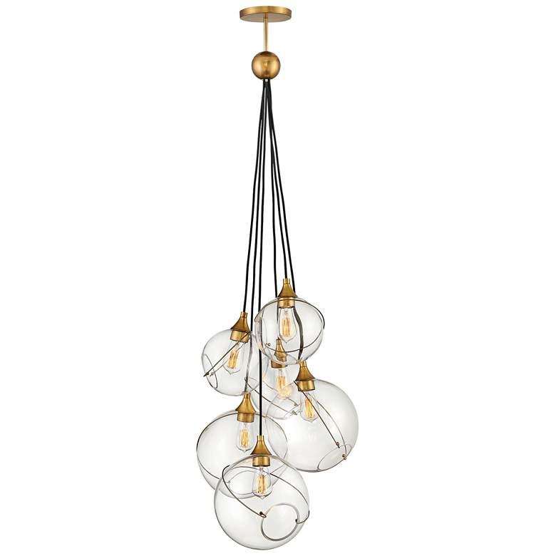 "Hinkley Skye 24""W Heritage Brass 6-Light Cluster Pendant"