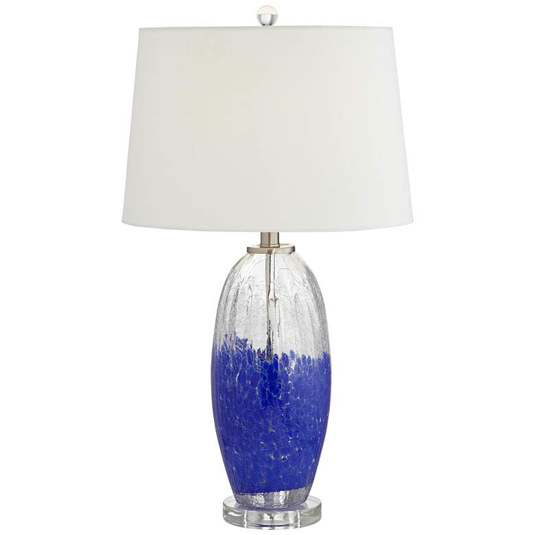 Bluejay Blue and Clear Glass Crackle Table Lamp