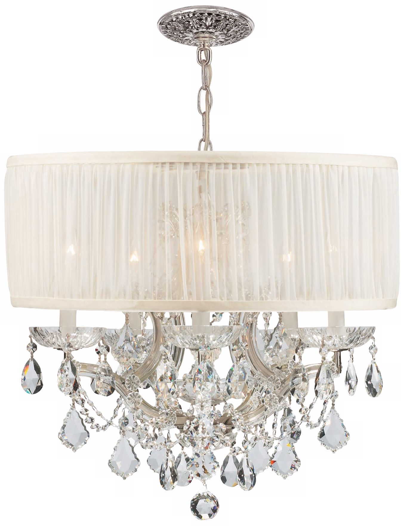 Brentwood Collection Chrome 6 Light Crystal Chandelier