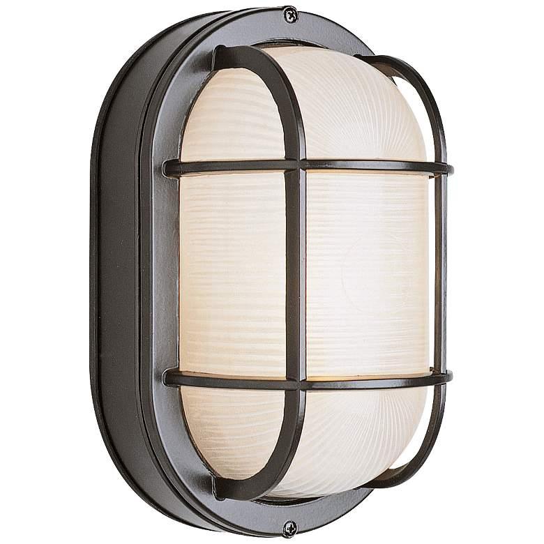 "Bulkhead 11"" High Black Oval Grid Outdoor Wall Light"