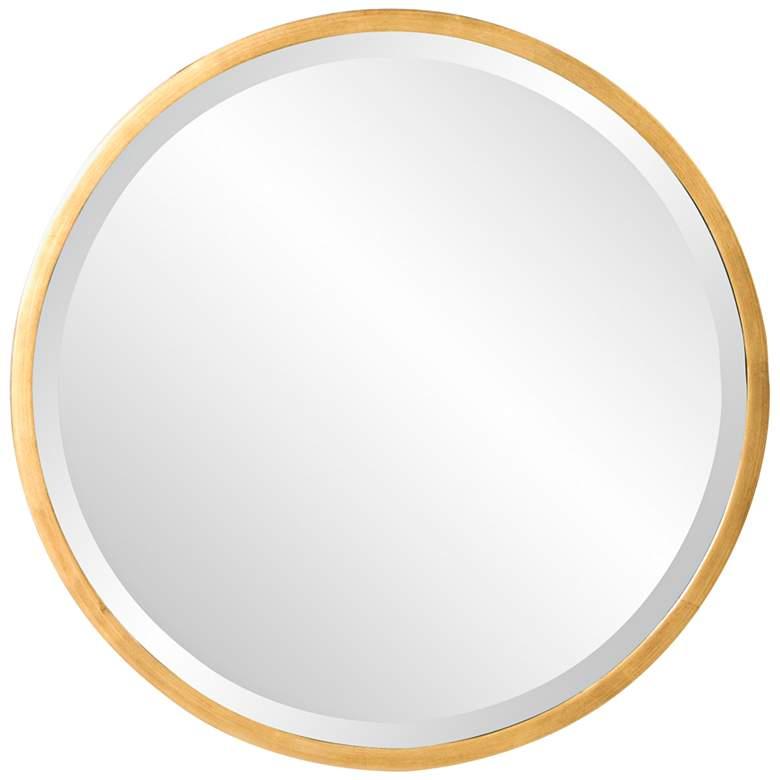 "Howard Elliott Brando Glossy Gold 24"" Round Wall Mirror"