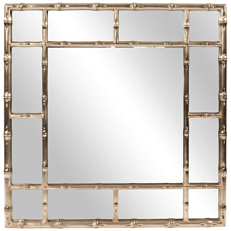"""Howard Elliott Bamboo Country-Silver 40"""" Square Wall Mirror"""