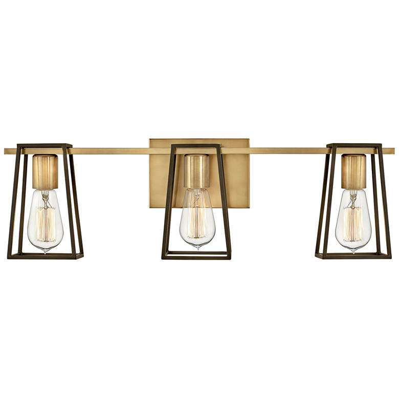 "Hinkley Filmore 24"" Wide Heritage Brass 3-Light Bath Light"