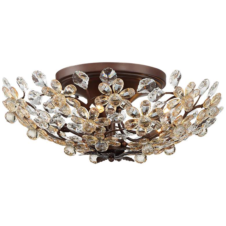 """Crystal Blooms 21"""" Wide Weathered Brown Ceiling Light"""
