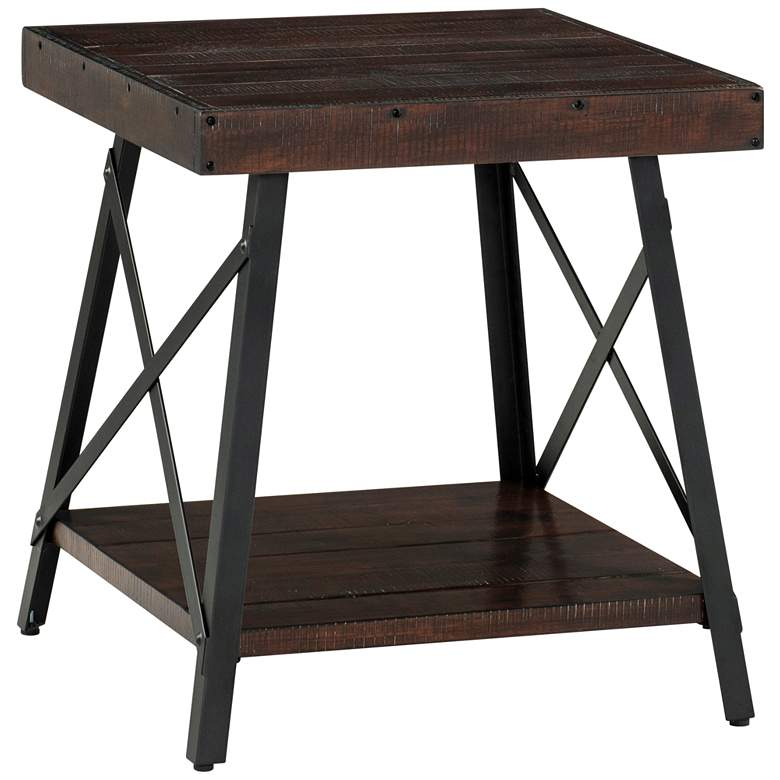 "Prairie 22"" Wide Sumatra Coffee Wood and Metal End Table"