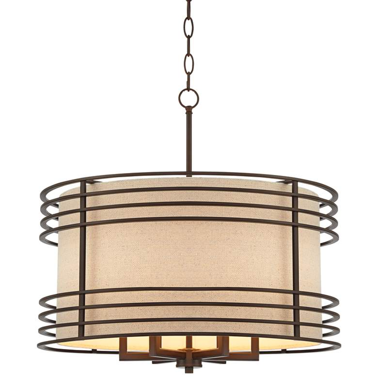 """Madrigal 24 1/4"""" Wide Oil-Rubbed Bronze Drum Pendant Light"""