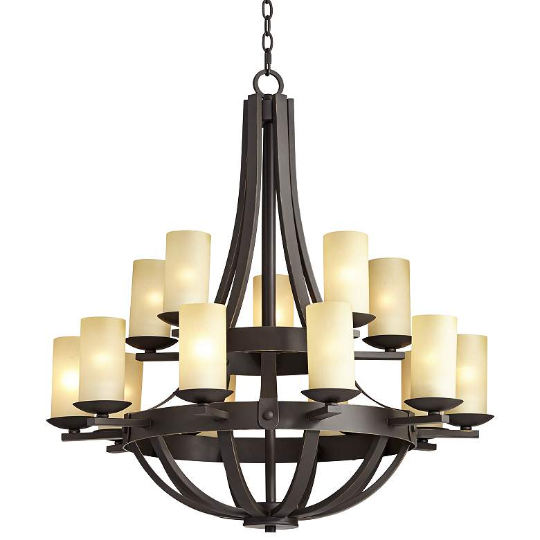 """Sperry 33"""" Wide Bronze and Scavo Glass 15-Light Chandelier"""