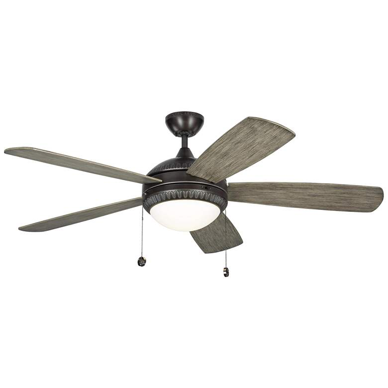 """52"""" Monte Carlo Discus Ornate Aged Pewter LED Ceiling Fan"""