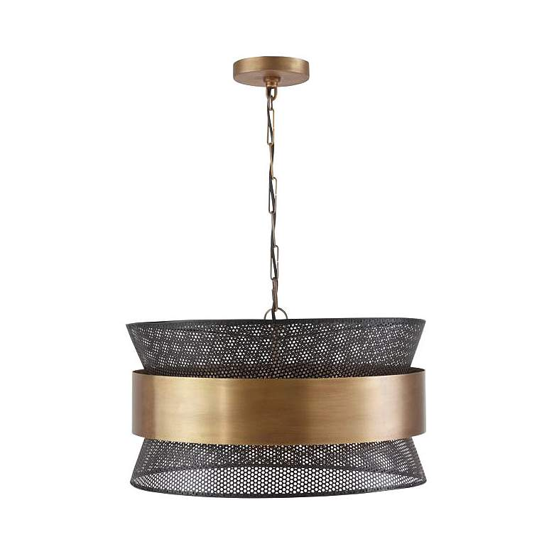 "Capital 19 3/4""W Patina Brass and Black 4-Light Pendant"