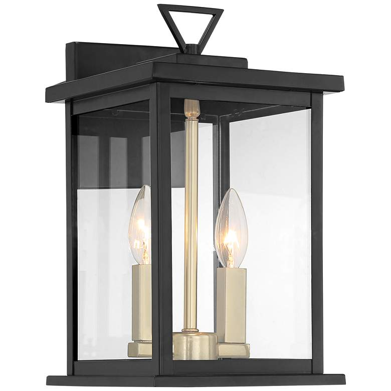 """Possini Euro Ely 14"""" High Black and Gold Outdoor Wall Light"""