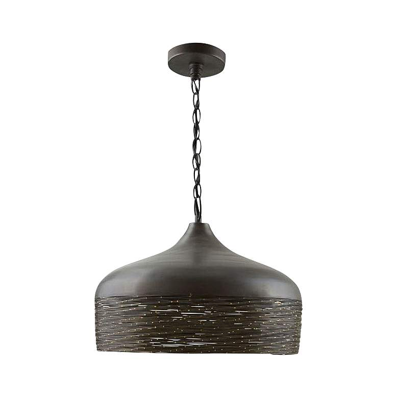 """Capital 17"""" Wide Woven Steel and Gray Iron Pendant Light"""