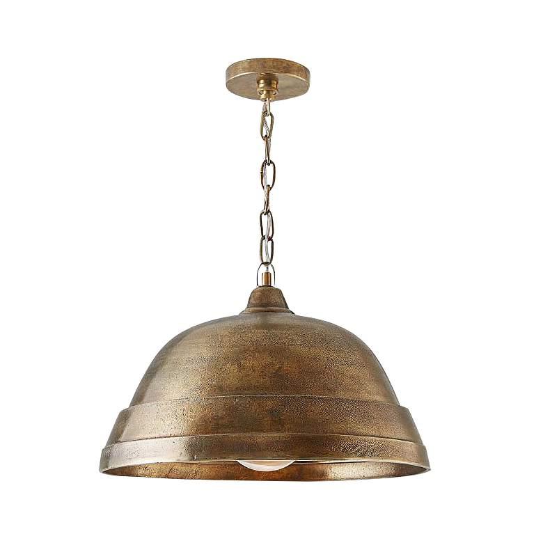 "Capital 18"" Wide Oxidized Brass Pendant Light"