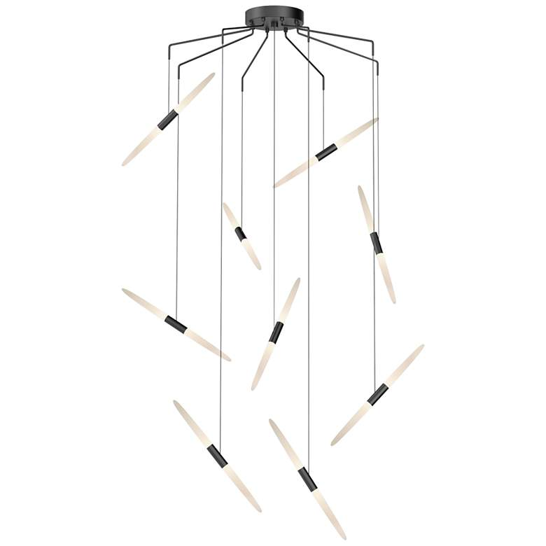 "Ballet 21 1/4"" Wide 9-Light Spreader Satin Black LED Pendant"