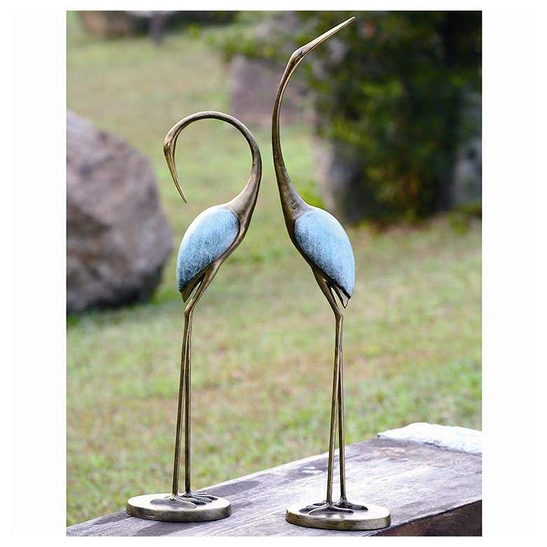 Stylized Garden Crane Aluminum Outdoor Statues Set of 2