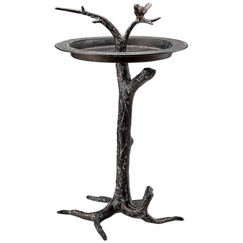 "Bird and Twig 27"" High Aluminum Outdoor Sundial and Birdbath"