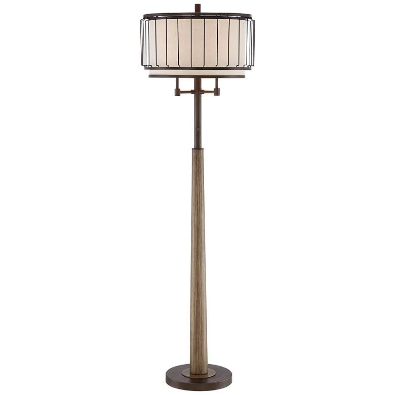 Terrence Bronze and Faux Wood Column Floor Lamp
