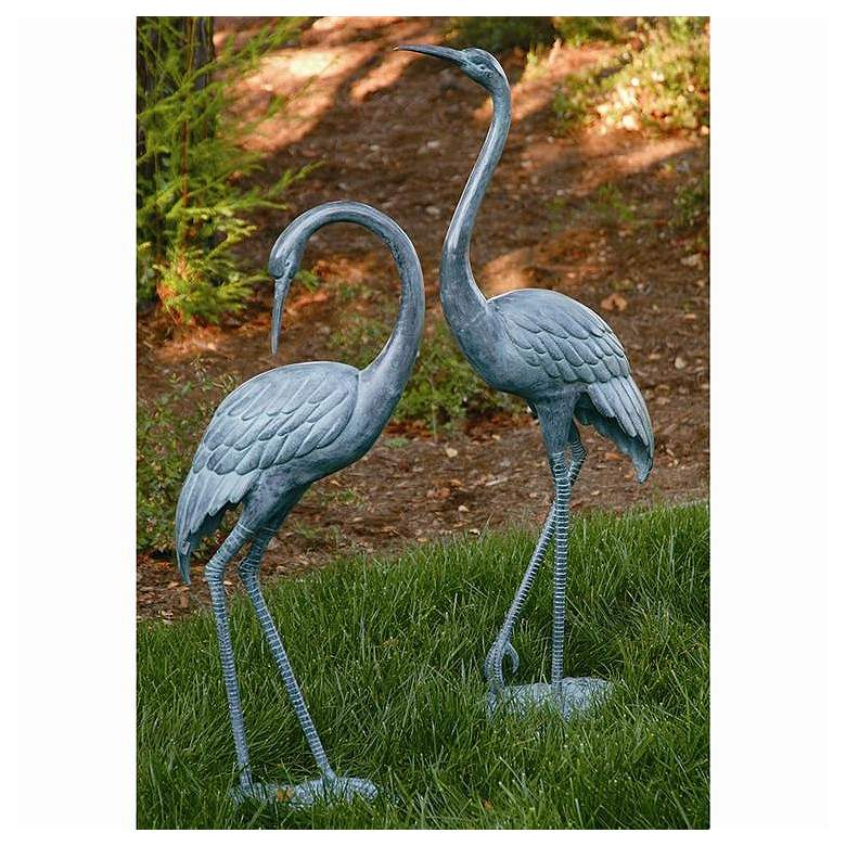 Garden Crane Brass Outdoor Statues Set of 2