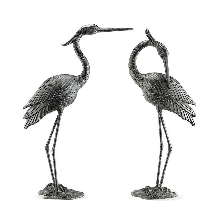 Marshland Royals Crane Aluminum Garden Statue Set of