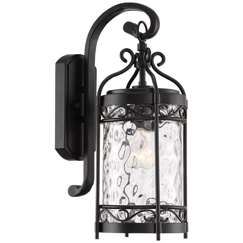 """Paseo 19""""H Hammered Glass Matte Black Outdoor Wall Light"""