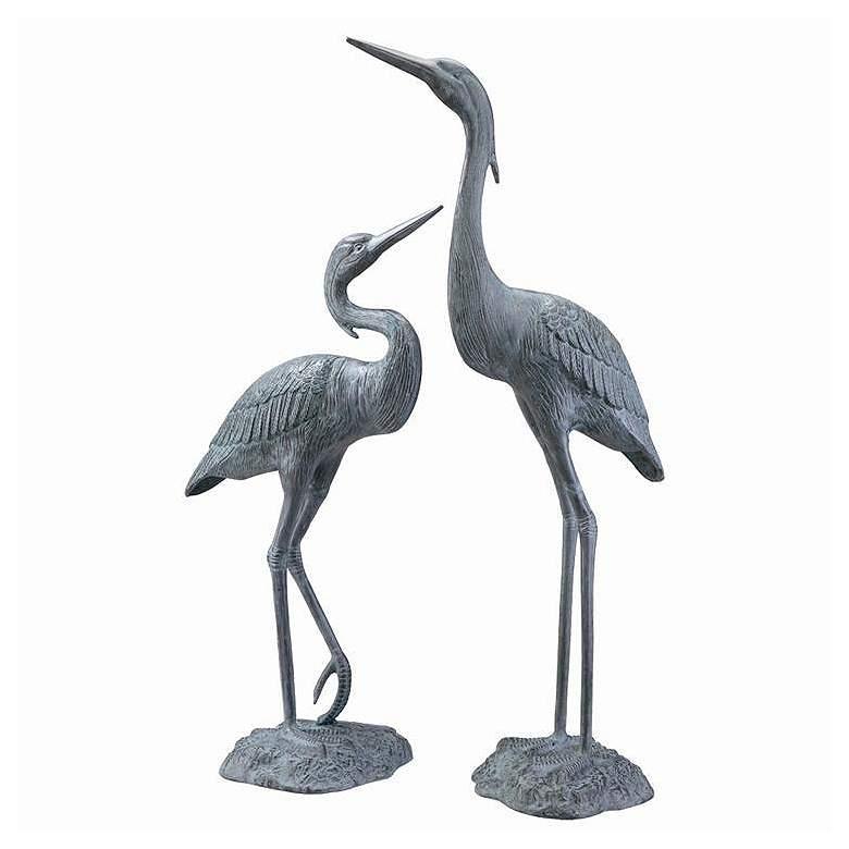 Garden Heron Brass Outdoor Statues Set of 2