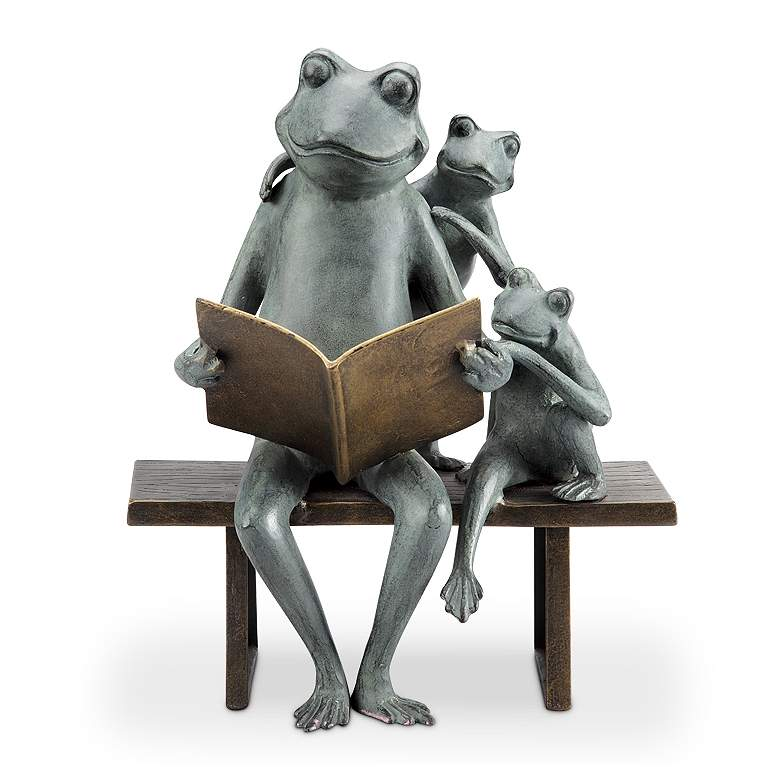 "Reading Frog Family 15 1/2""H Aluminum Outdoor Garden Statue"
