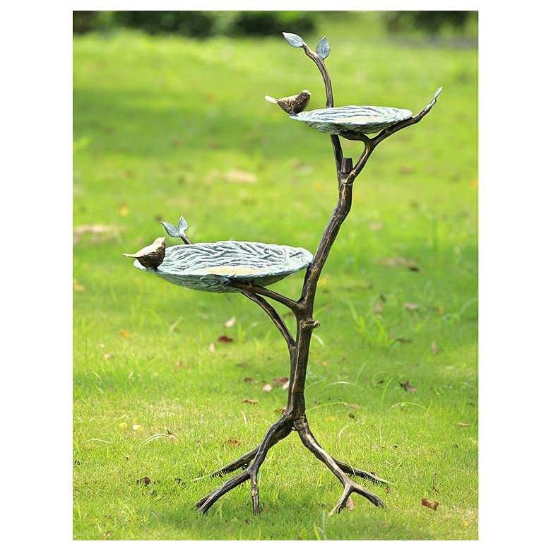 "Gossiping Birds 34"" High Aluminum Outdoor Birdfeeder"