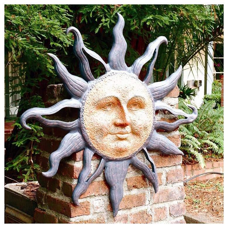 """Rising Sun 37"""" Round Aluminum Outdoor Wall Plaque Sculpture"""