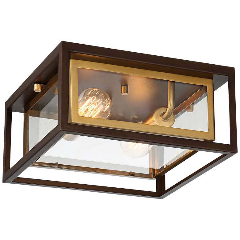 "Possini Euro Kie 12"" Wide Double Box Outdoor Ceiling Light"