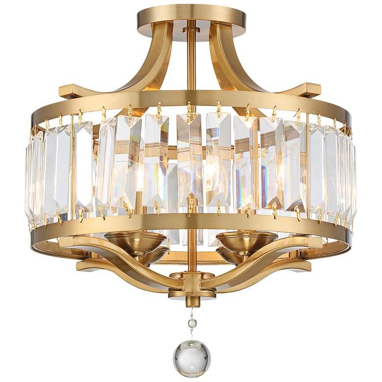 "Prava 16 1/2""W Crystal and Warm Brass Ceiling Light"