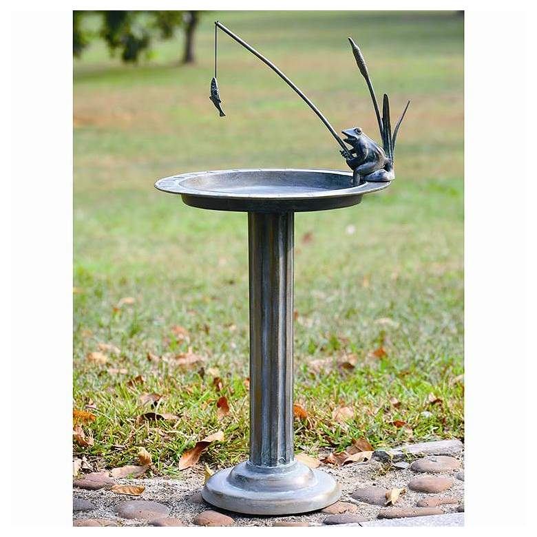 "Fishing Frog 32"" High Aluminum Outdoor Sundial and"