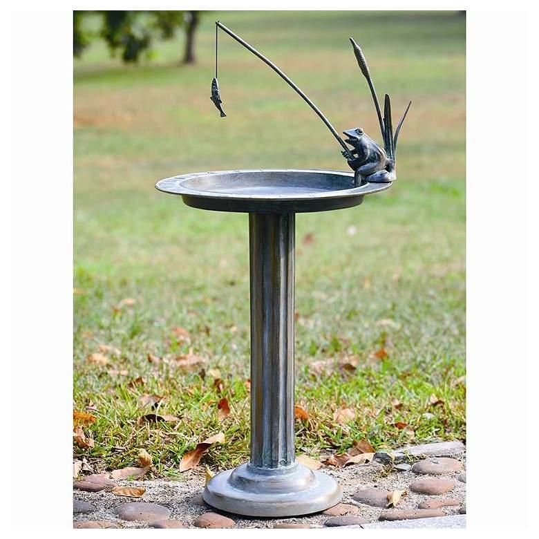 "Fishing Frog 32"" High Aluminum Outdoor Sundial and Birdbath"