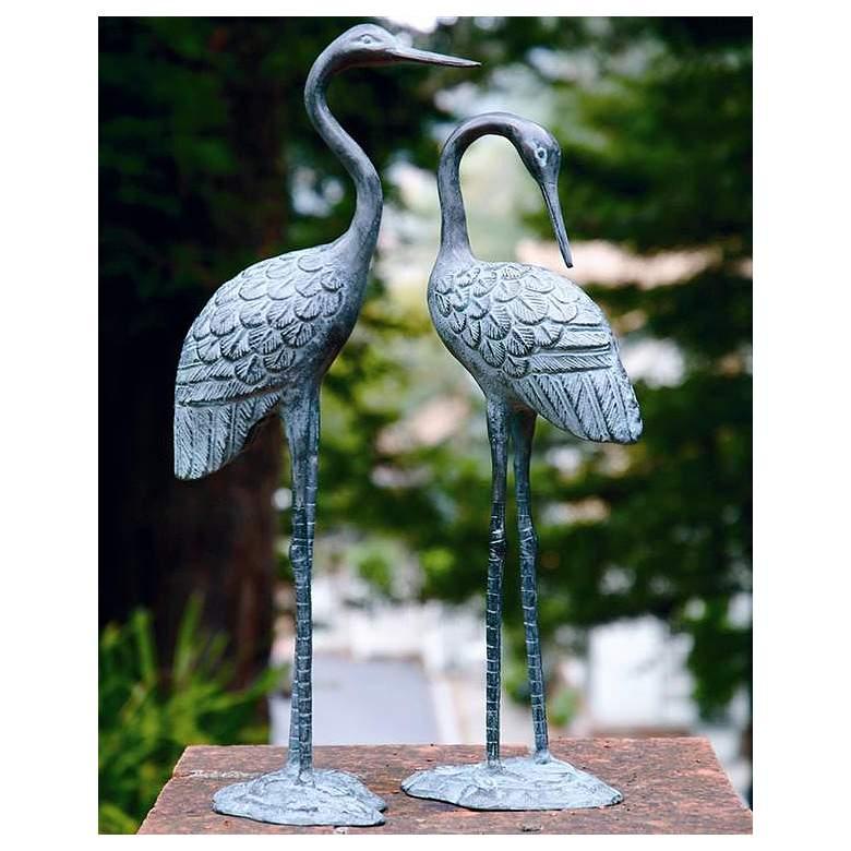 Love Cranes Brass Outdoor Garden Statues Set of 2