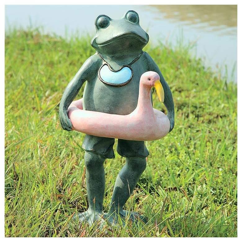 """Beach Buddy Frog 19 1/2"""" High Aluminum Outdoor Garden Statue"""