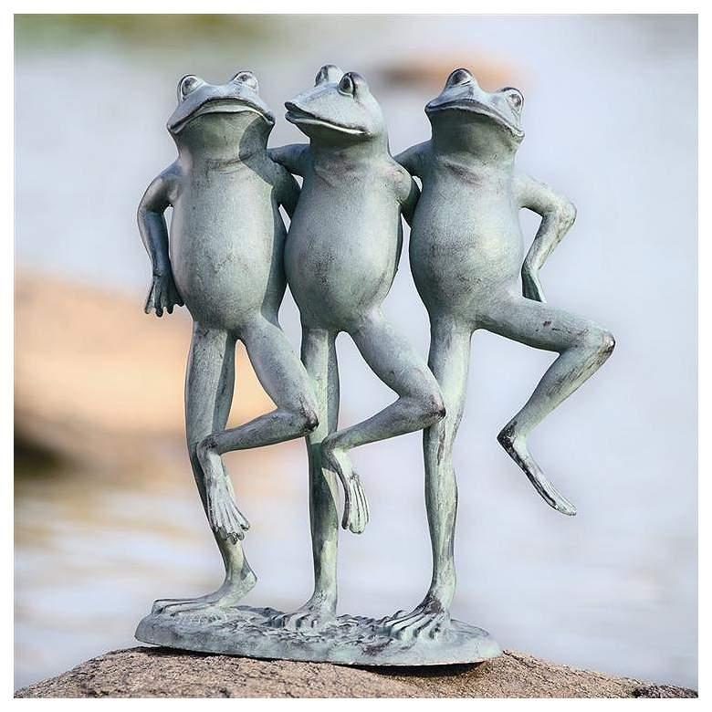 """Dancing Frog Trio 19"""" High Aluminum Outdoor Garden"""