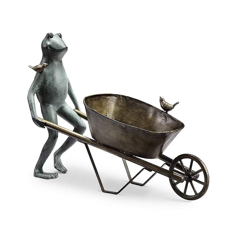 "Frog and Bird 19""H Aluminum Planter Holder Outdoor Statue"
