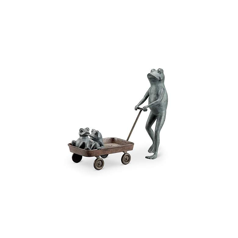 """Frog Family with Wagon Planter 23 1/2"""" High Outdoor Statue"""